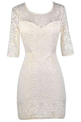 Cream Lace Sheath Dress, Beige Lace Sheath Dress, Cream Lace Rehearsal Dinner Dress, Beige Lace Bridal Shower Dress, Cute Beige Lace Dress, Cream Lace Party Dress, Beige Lace Cocktail Dress