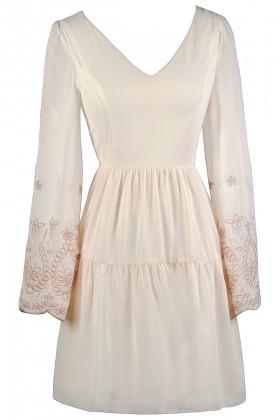 Cream Bell Sleeve Dress, Embroidered Bell Sleeve Dress, Cute Cream Dress, Bohemian Hippie Dress, Cute Boho Dress