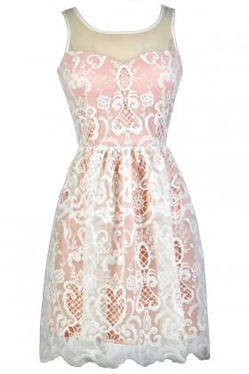 Blush Pink and Ivory Embroidered Dress, Blush Pink Sundress, Cute Blush Dress, Blush Pink Party Dress, Cute Summer Dress, Blush Pink and Ivory A-Line Dress