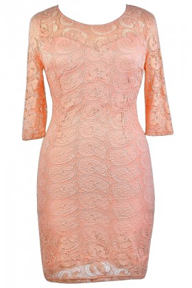 Peach Plus Size Lace Dress, Cute Plus Size Dress, Plus Size Party Dress, Pink Plus Size Lace Dress