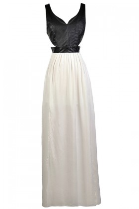 Black and Ivory Maxi Dress, Black and White Cutout Maxi Dress, Black and White Maxi Summer Dress, Cute Black and White Dress