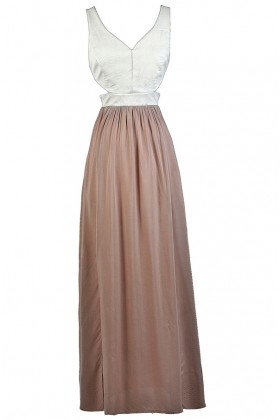 Pink and Ivory Maxi Dress, Blush and Ivory Maxi Dress, Cute Maxi Dress
