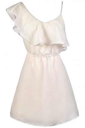 Cream One Shoulder Ruffle Dress, Cute Ruffle Dress, Ivory Ruffle Party Dress, Cream Rehearsal Dinner Dress, Ivory Bridal Shower Dress, Cream Party Dress