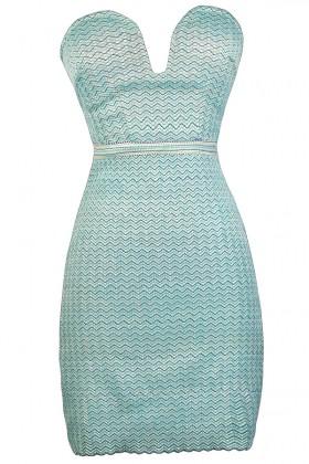 Aqua and Lime Bodycon Dress, Chevron Bodycon Dress, Plunging Neckline Bodycon Dress, Cute Party Dress