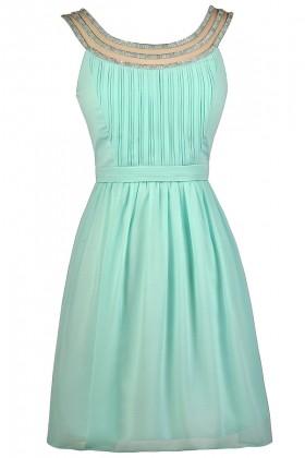 Cute Mint Dress, Mint Party Dress, Mint Cocktail Dress, Mint Embellished Dress