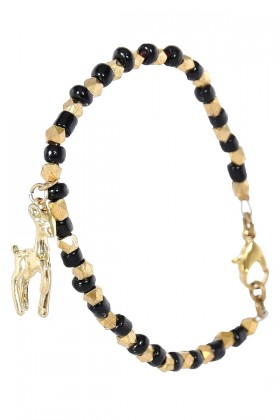 Black and Gold Charm Bracelet, Deer Charm Bracelet, Cute Jewelry
