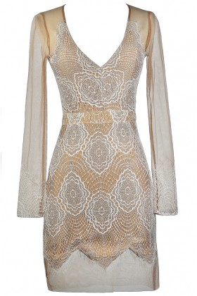 Cute Lace Dress, Beige and White Lace Dress, Lace Cocktail Dress, Lace Party Dress