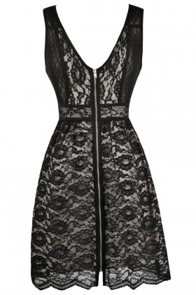 Black Lace Party Dress, Black Lace Cocktail Dress, Black Lace A-Line Dress, Cute Black Dress