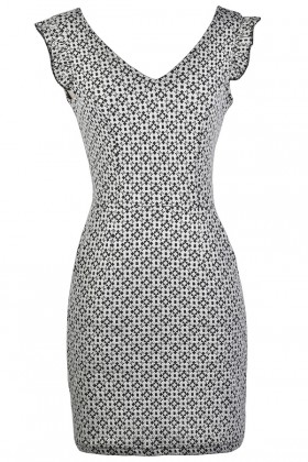 Cute Printed Dress, Black and Beige Pattern Dress, Black and Beige Sheath Dress, Cute Printed Dress