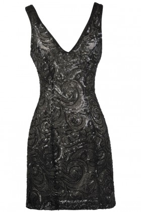 Black Sequin Cocktail Party Dress