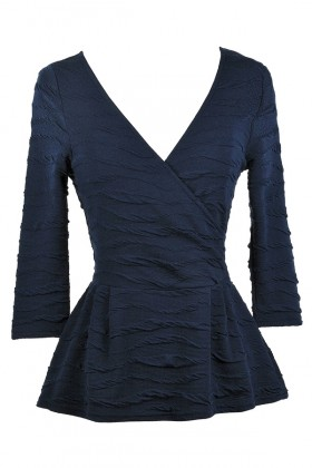 Navy Blue Peplum Surplice Top