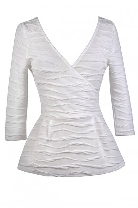 White Surplice Peplum Top