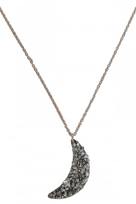 Crescent Moon Necklace, Moon Shaped Necklace, Pyrite Moon Necklace