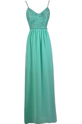 Teal Lace Maxi Dress, Teal Open Back Maxi Dress, Teal Prom Dress