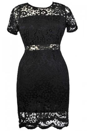 Black Lace Plus Size Cocktail Party Dress