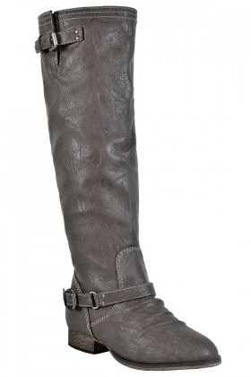 Grey Riding Boots, Cute Fall Boots, Red Zipper Boots