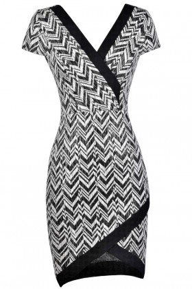 Cute Chevron Dress, Black and Ivory Chevron Dress, Crossover Hem Dress, Cute Party Dress