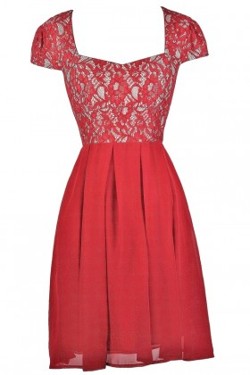 Red Lace Capsleeve Holiday Party Dress