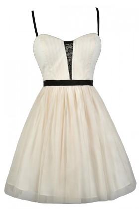 Ivory and Black Ballerina Dress, Cute Rehearsal Dinner Dress, Beige and Black Tulle Dress