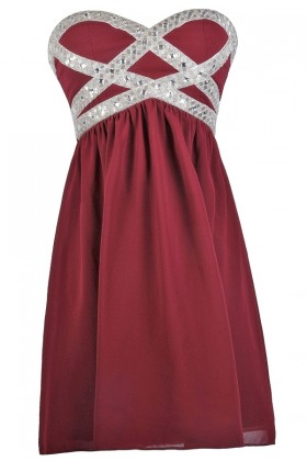 Burgundy Embellished Holiday Party Bridesmaid Dress