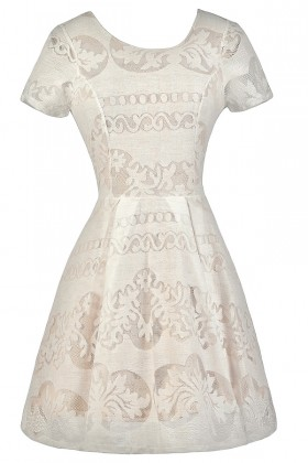 Cute Rehearsal Dinner Dress, Bridal Shower Dress, Ivory and Beige A-Line Dress