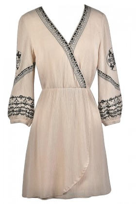 Beige and Black Embroidered Dress, Cute Summer Dress, Beige Wrap Dress