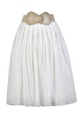 White A-Line Skirt, White Belted Skirt, Cute Summer Skirt