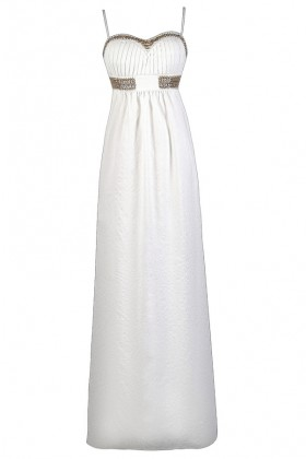 Gold and White Maxi Dress, Summer Maxi Dress, Cute Maxi Dress