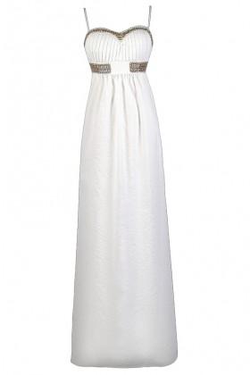 Gold and White Maxi Dress, Summer Maxi Dress, Cute Maxi Dress