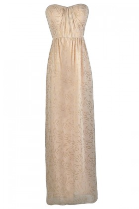 Cream and Gold Maxi Dress, Cute Cream Dress, Beige Maxi Dress