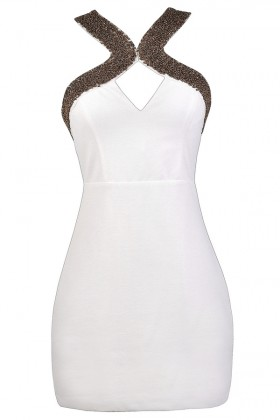 White and Gold Cocktail Dress, White and Gold Embellished Party Dress, Little White Dress