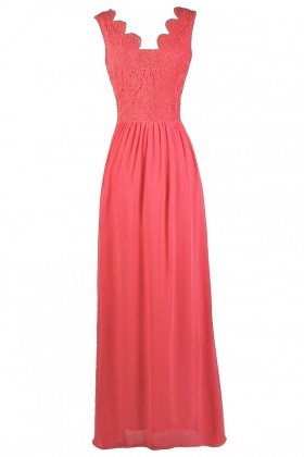 Hot Pink Lace Maxi Dress, Cute Pink Lily Boutique Dress, Hot Pink Maxi Bridesmaid Dress