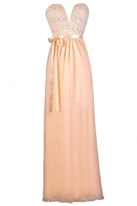 Strapless Pink Maxi Dress, Pink Maxi Bridesmaid Dress, Pink Lace Maxi Dress