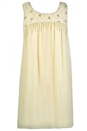 Cream Trapeze Dress, Cute Cream Dress, Cream Party Dress