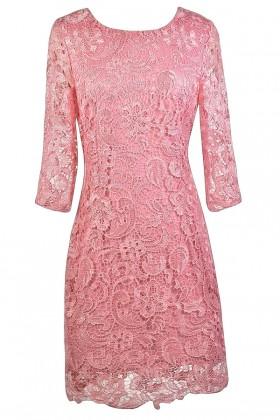 Pink Crochet Lace Dress, Cute Pink Dress, Pink Lily Boutique Dress
