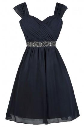 Navy Embellished Party Homecoming Bridesmaid Dress