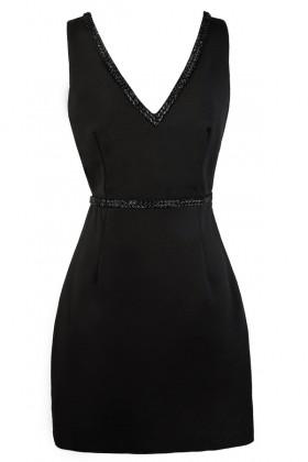 Cute Little Black Dress, Black Cocktail Dress, Black Beaded Dress