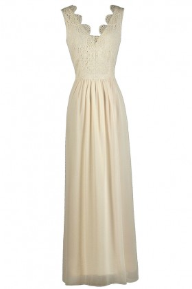 Ivory Lace Maxi Dress, Off White Maxi Dress, Rehearsal Dinner Dress