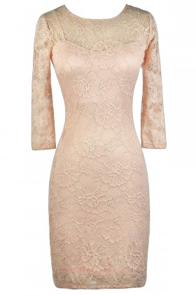 Pink Lace Dress, Lace Pencil Dress, Cute Lace Dress
