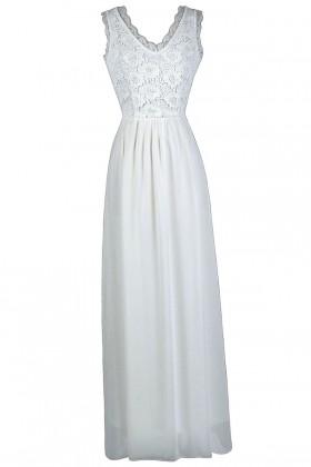 Off White Lace Maxi Dress, Cute Summer Dress, White Lace Maxi Dress