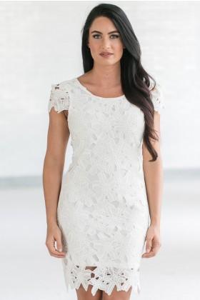 Calyn Crochet Lace Capsleeve Pencil Dress in Ivory