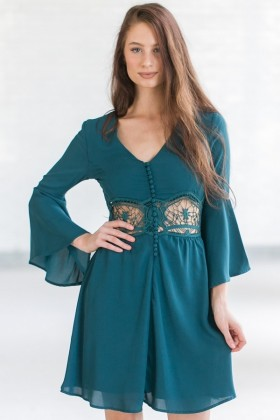 Cute Teal Green Bell Sleeve Fall Boho Festival Dress