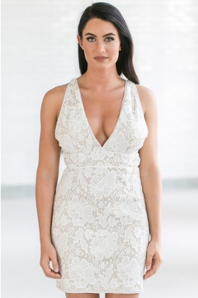 Girls Night Out Lace Cocktail Dress in Ivory