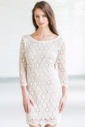 Cute Beige Lace Rehearsal Dinner Dress