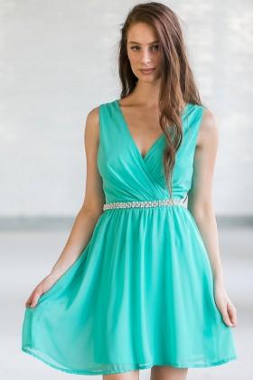 Delicate Balance Pearl Embellished Dress in Jade