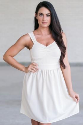 Cute Cream A-Line Party Dress, Beige Summer Dress, Online Boutique Sundress