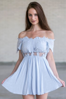 Cute Pale Blue Off Shoulder Romper, Online Boutique Baby Blue Romper, Cute Summer Romper