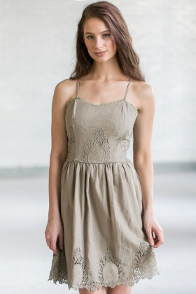 Cute Olive Green Eyelet Dress, Olive Green Summer Dress, Cute Sundress, Online Boutique Dress