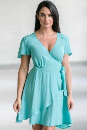 Aqua Blue Wrap Dress, Cute Summer Dress, Aqua Party Dress