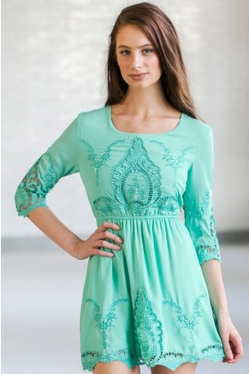 Mint Eyelet Embroidered Dress, Cute Mint Summer Dress, Mint Sundress, Online Boutique Dress